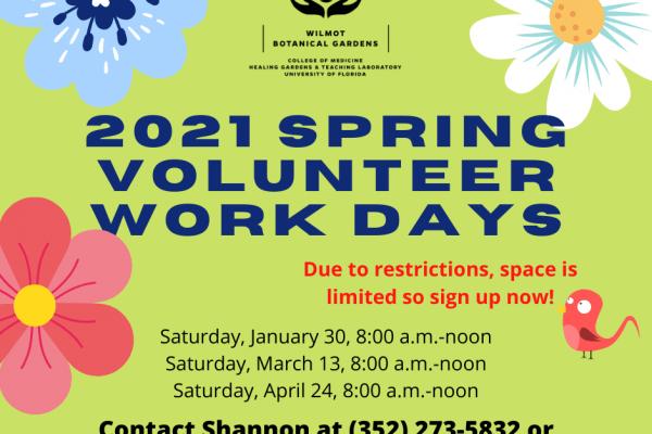 2021 Spring Volunteer Work Days