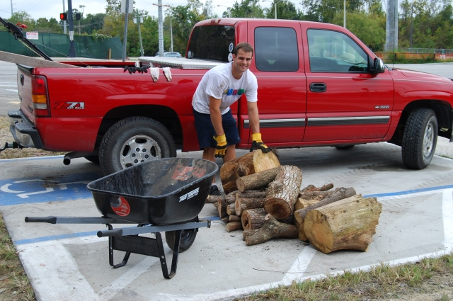 Student volunteer hauling logs